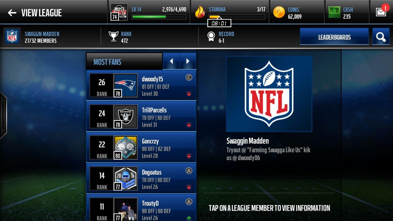 ... Madden NFL Mobile Leagues - Madden NFL Mobile - Madden NFL 17 Forums
