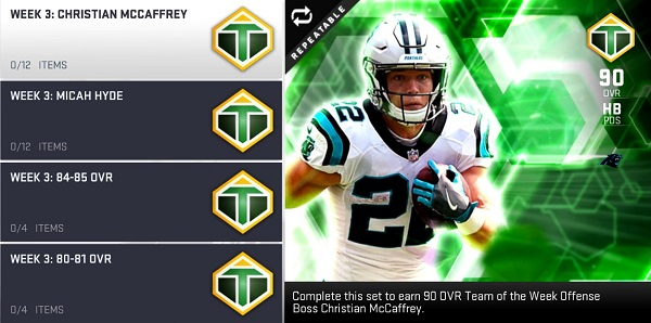 MUT 19 Team of the Week 3  Christian McCaffrey and Micah Hyde 281fe28a2