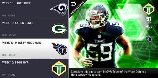 This week s TOTW features Jared Goff as the Boss. You can get this item by  adding TOTW Heroes Aaron Jones and Wesley Woodyard into his set. b9a31a295